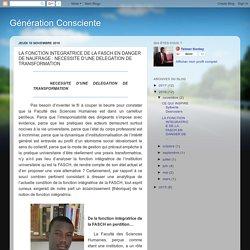 LA FONCTION INTEGRATRICE DE LA FASCH EN DANGER DE NAUFRAGE : NECESSITE D'UNE DELEGATION DE TRANSFORMATION