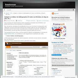 Intégrer un éditeur de bibliographie à E-sidoc (ou Netvibes, le blog du CDI, etc.)