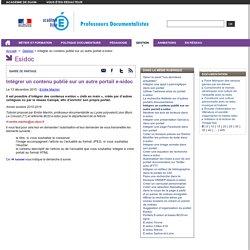 Intégrer un contenu publié sur un autre portail e-sidoc