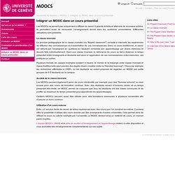 Intégrer un MOOC dans un cours présentiel - MOOCs - UNIGE