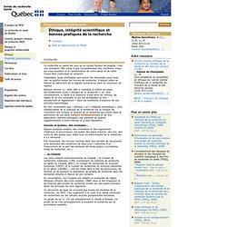 FONDS DE LA RECHERCHE EN SANTE (Québec) - Éthique, intégrité scientifique et bonnes pratiques de la recherche