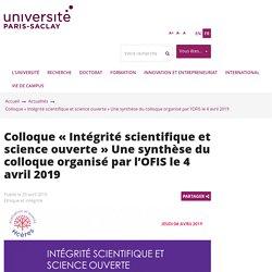 Colloque « Intégrité scientifique et science ouverte » Une synthèse du colloque organisé par l'OFIS le 4 avril 2019