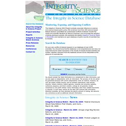 The Integrity in Science Database ~ Integrity in Science ~ CSPI