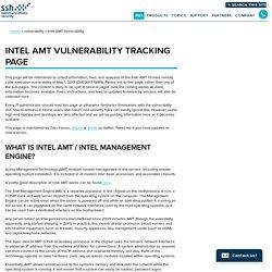 Intel AMT Firmware Vulnerability CVE-2017-5689