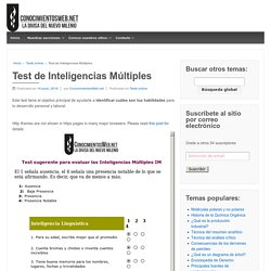 Test de Inteligencias Múltiples – Conocimientos – La divisa del nuevo milenio