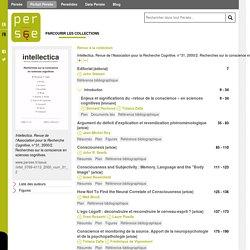 Intellectica. Revue de l'Association pour la Recherche Cognitive, n°31, 2000/2. Recherches sur la conscience en sciences cognitives. - Persée
