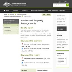Inquiry report - Intellectual Property Arrangements Productivity Commission