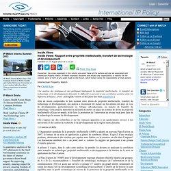 Rapport entre propriété intellectuelle, transfert de technologie et développement