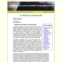 La déficience intellectuelle | Encyclopédie internationale multilingue de la réadaptation