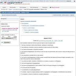 Code de la propriété intellectuelle - Article L112-2