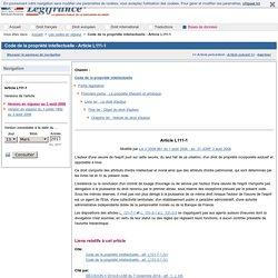 Code de la propriété intellectuelle - Article L111-1