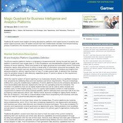 Magic Quadrant for Business Intelligence and Analytics Platforms