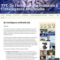 TPE-De l'intelligence humaine à l'intelligence artificielle