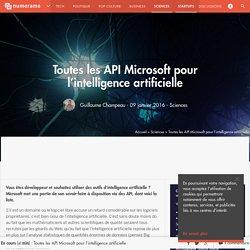 Toutes les API Microsoft pour l'intelligence artificielle - Sciences