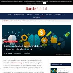 Google AutoML : l'Intelligence Artificielle apprend d'elle même