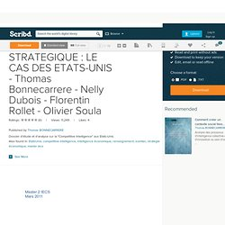 INTELLIGENCE ECONOMIQUE ET STRATEGIQUE : LE CAS DES ETATS-UNIS - Thomas Bonnecarrere - Nelly Dubois - Florentin Rollet - OIivier Soula