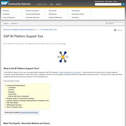 BI Platform Support Tool - Business Intelligence (BusinessObjects