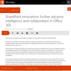 SharePoint innovations further advance intelligence and collaboration in Office 365