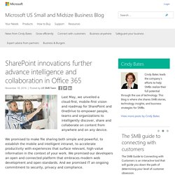 SharePoint innovations further advance intelligence and collaboration in Office 365 - Microsoft US Small and Midsize Business Blog