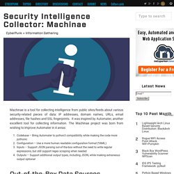 Security Intelligence Collector: Machinae