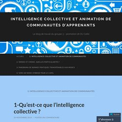 Intelligence collective et animation de communautés d'apprenants