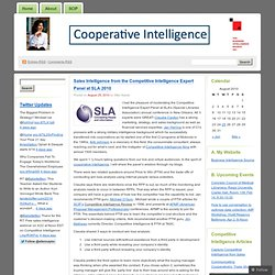 Sales Intelligence from the Competitive Intelligence Expert Panel at SLA 2010 « Cooperative Intelligence