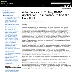 Adventures with testing Business Intelligence/DataWarehousing application