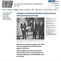 Intelligence and Vietnam (II): Return of The Top Secret 1969 State Department Study