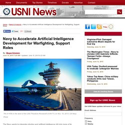 Navy to Accelerate Artificial Intelligence Development for Warfighting, Support Roles