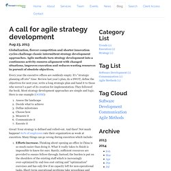 A call for agile strategy development