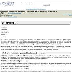 Intelligence économique et stratégie d'entreprise, état de la question et pratique en Algerie - Souhil FEKIR