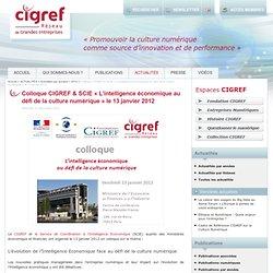 """Colloque CIGREF & SCIE """"L'intelligence économique au défi de la culture numérique"""" le 13 janvier 2012 - CIGREF Actualités"""