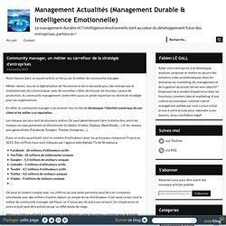 Community manager, un métier au carrefour de la stratégie d'entreprises - Management Actualités (Management Durable & Intelligence Emotionnelle)