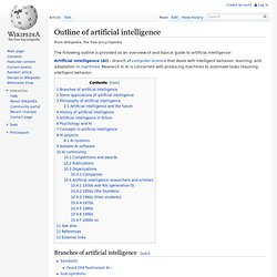 Outline of artificial intelligence