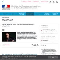 Rapport de Cédric Villani : donner un sens à l'intelligence artificielle (IA) - ESR : enseignementsup-recherche.gouv.fr