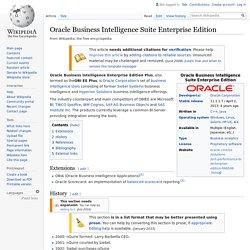 Oracle Business Intelligence Suite Enterprise Edition