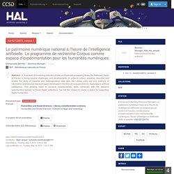 Le patrimoine numérique national à l'heure de l'intelligence artificielle. Le programme de recherche Corpus comme espace d'expérimentation pour les humanités numériques