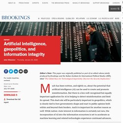 Artificial intelligence, geopolitics, and information integrity