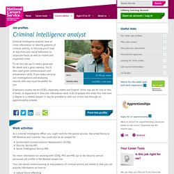 Criminal intelligence analyst Job Information