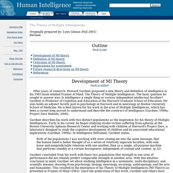Human Intelligence: The Theory of Multiple Intelligences