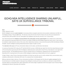 GCHQ-NSA intelligence sharing unlawful, says UK surveillance tribunal