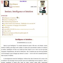 Instinct, intelligence et intuition