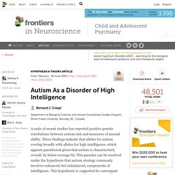 Autism As a Disorder of High Intelligence