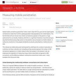 GSMA Intelligence — Research — Measuring mobile penetration