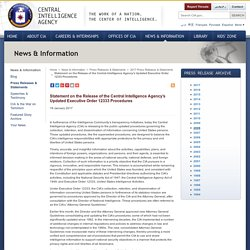 Statement on the Release of the Central Intelligence Agency's Updated Executive Order 12333 Procedures