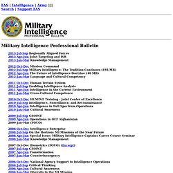 Military Intelligence Professional Bulletin