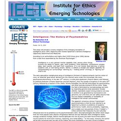 Intelligence: The History of Psychometrics