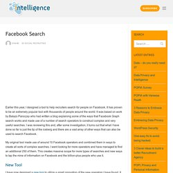 Facebook Search - Intelligence Recruitment Software