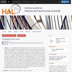 L'intelligence des traces - HAL-SHS - Sciences de l'Homme et de la Société