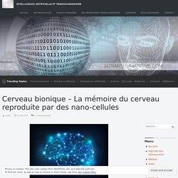 Cerveau bionique – La mémoire du cerveau reproduite par des nano-cellules – Intelligence Artificielle et Transhumanisme